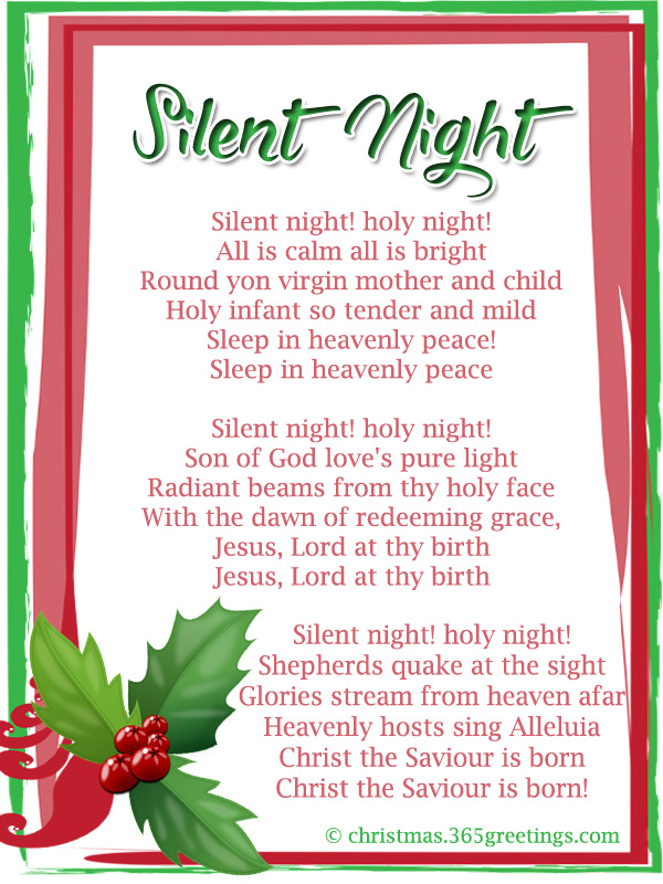 Critical image pertaining to silent night lyrics printable