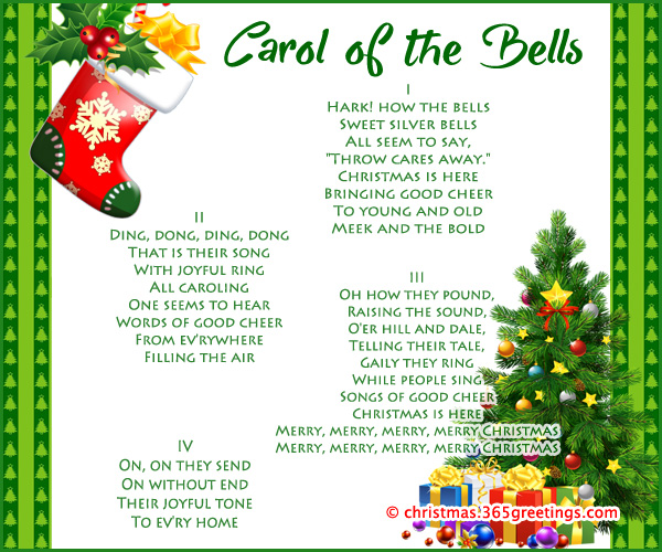 CHRISTMAS CAROLS - CAROL OF THE BELLS LYRICS