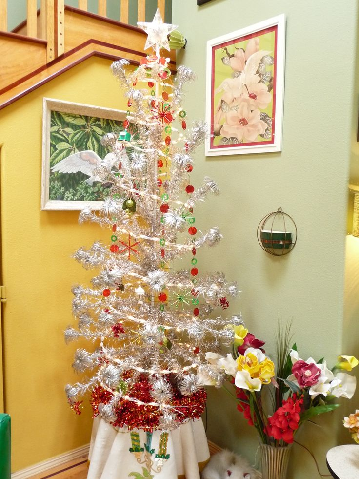 a tall aluminum christmas tree - Vintage Tinsel Christmas Tree