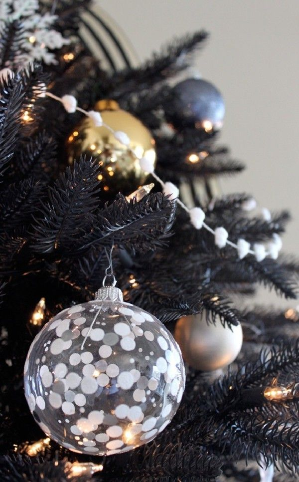 Use Transparent Baubles: Transparent baubles look equally beautiful on black Christmas trees.