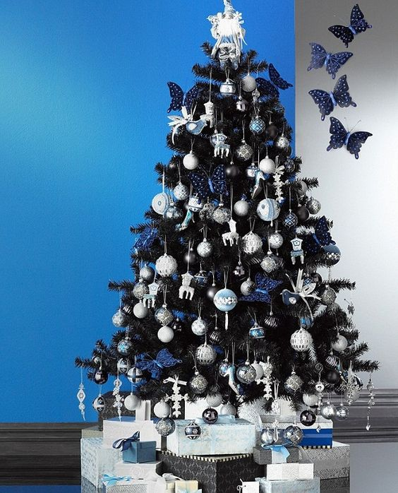 black with blue black christmas tree decoration ideas - Blue And Silver Christmas Tree