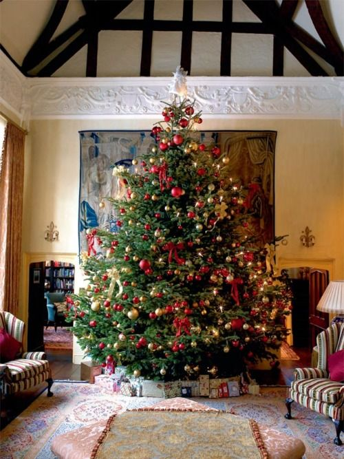 Nice Christmas Decoration Ideas Uk Part - 6: A Larger Than Life Christmas Tree, Decorated With Red And Gold Ornaments  Grace This Magnanimous English Manor. The Tree Topper Is Kept Traditional  And So ...