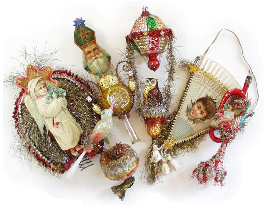 a group of vintage ornaments