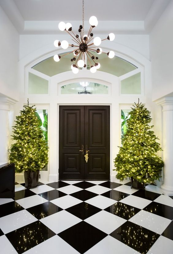 Christmas Decoration Ideas Uk Part - 18: Hereu0027s Another Quintessential Christmas Decoration Idea Used Widely In The  UK. It Features Two Planter Christmas Trees Placed On The Elegantly  Designed ...