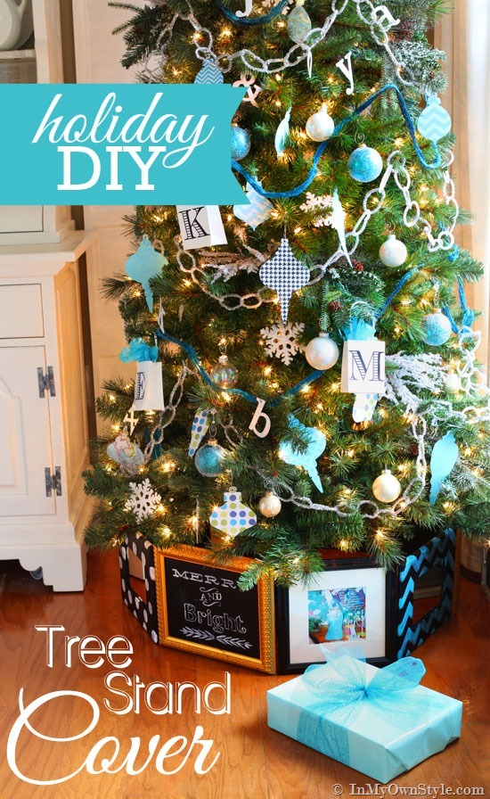 this frame christmas tree stand may look a bit difficult to make but you can easily bring it together with some beautiful photo frames and a staple gun