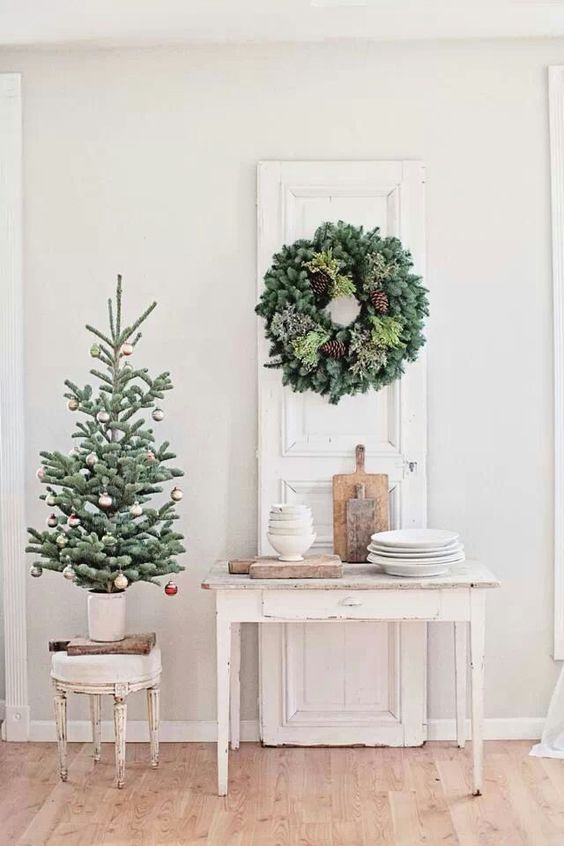 you can even use a small sized metal or aluminum container to house your mini christmas tree especially if you want to recreate a shabby chic look - Metal Christmas Decoration Stand