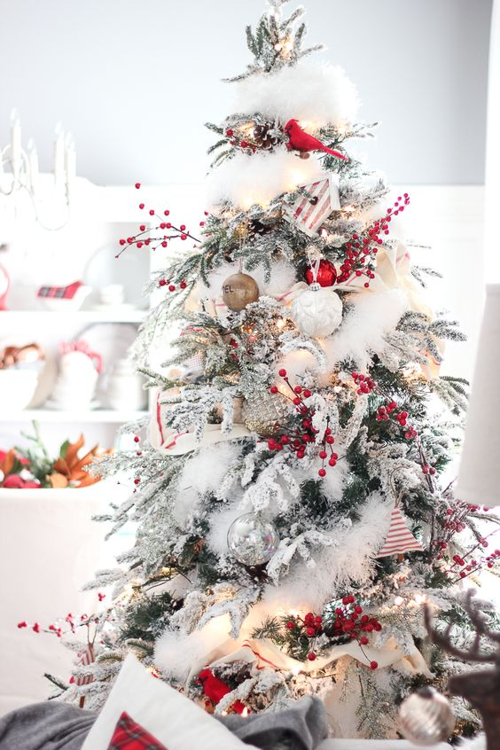 cardinal perched on a tree - Flocked Christmas Tree Decorating Ideas