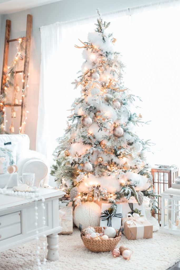 in this christmas tree the branches are not just flocked but even laden with snow to give it an appearance of a winter wonderland in the house
