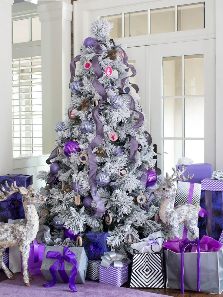 give lavender touches - White Christmas Tree With Blue And Silver Decorations