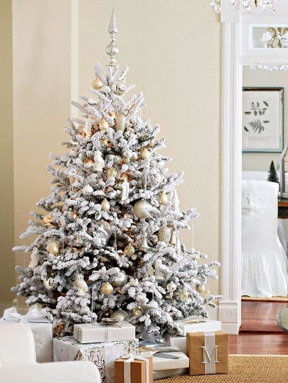 give a neutral look give your flocked christmas tree - Silver And Gold Christmas Tree Decorations