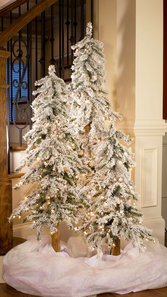 if youre short of space you can go for slim flocked christmas tree instead of a regular christmas tree and even if you have ample space