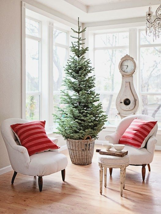 a slim christmas tree housed in a basket - Slim Christmas Tree Decorating Ideas