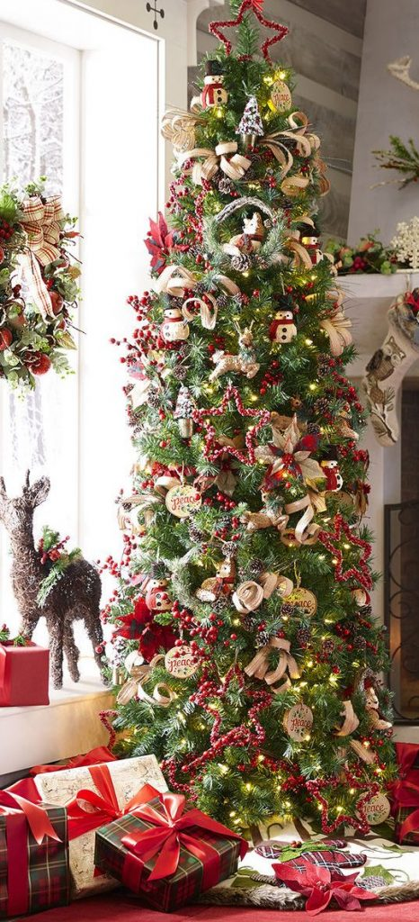 slim christmas tree decorating ideas - Pencil Christmas Tree Decorating Ideas