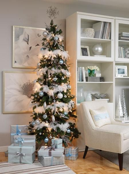 Stunning slim christmas tree decorating ideas christmas Ideas for decorating a christmas tree