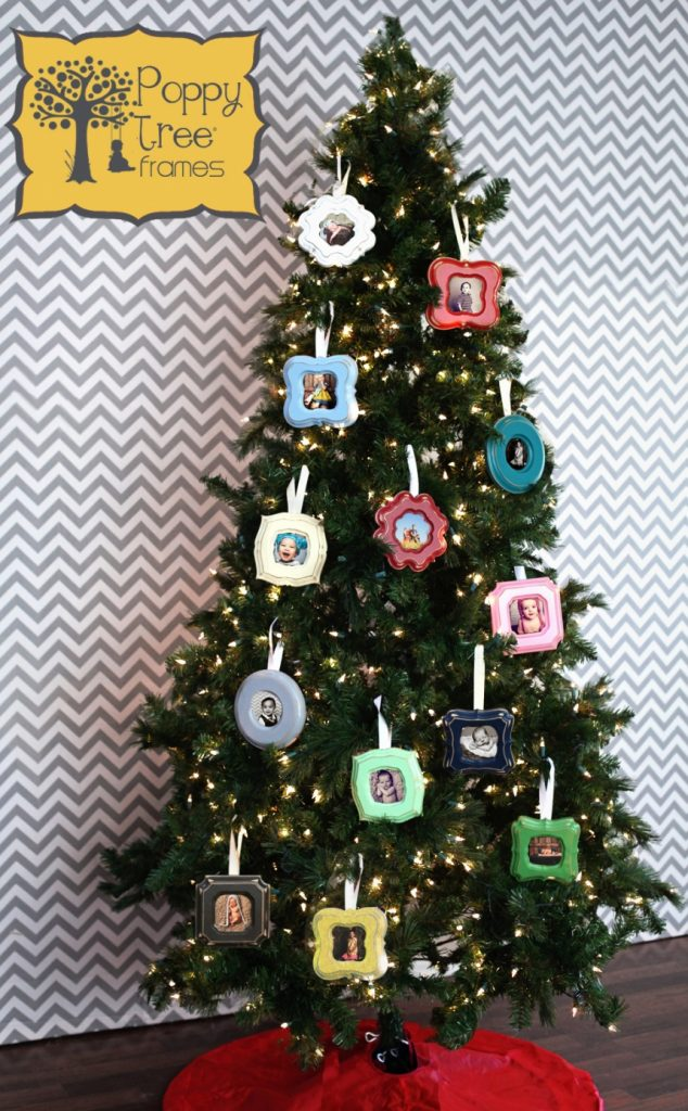 decorate with photo frames slim christmas tree decorating ideas