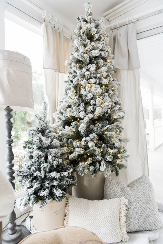 just like slim or skinny christmas tree even flocked christmas tree are equally in vogue and by following this idea youll get the best of both the - Skinny Christmas Tree Decorating Ideas