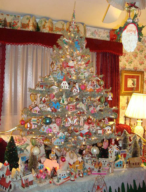 This beautiful silver Christmas tree, decorated with all things favorite of  children is sure to elicit loads of giggles, laughter and smiles. - Top Victorian Christmas Tree Decoration Ideas - Christmas
