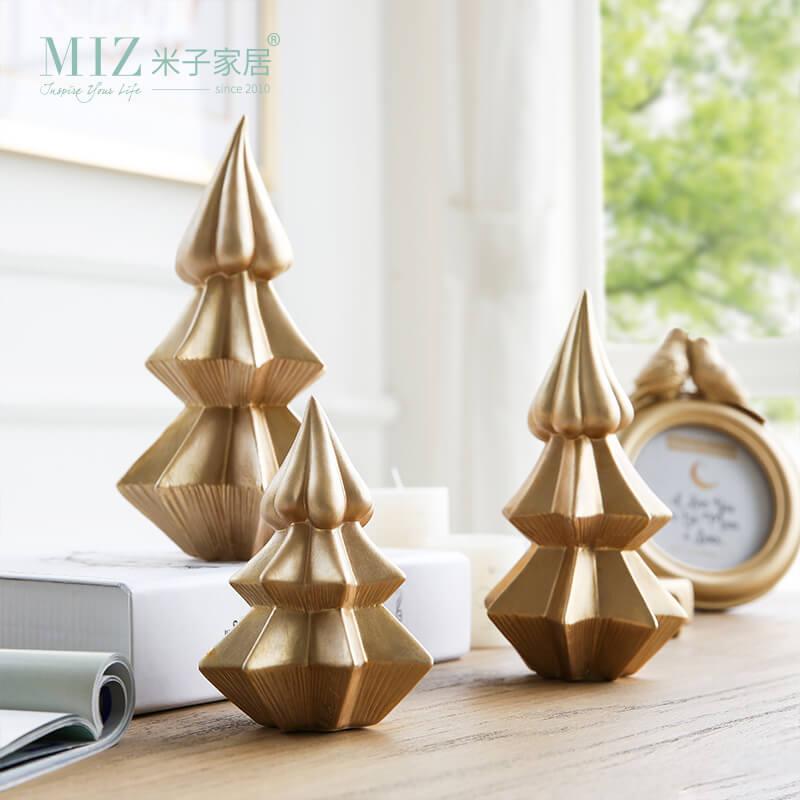 golden ceramic christmas trees
