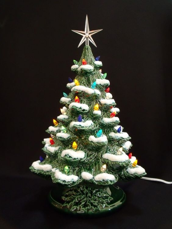 Vintage Ceramic Christmas Tree With Lights
