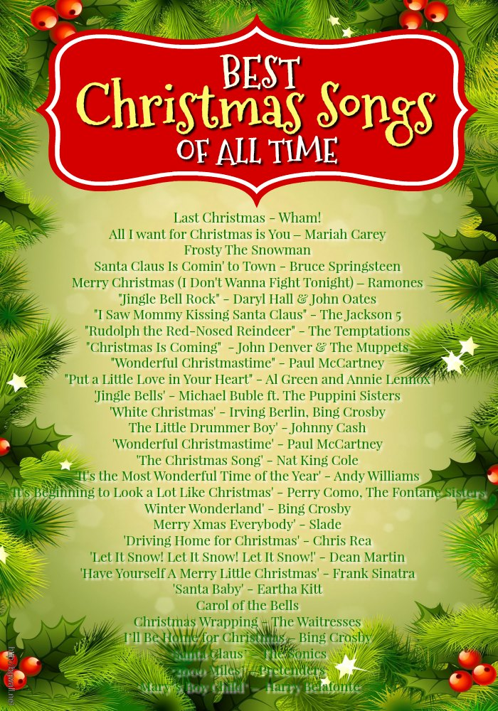 42 Best Christmas Songs Ever - Christmas Celebration - All about ...