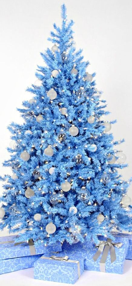 a powder blue tree with white and silver ornament blue christmas tree decoration ideas