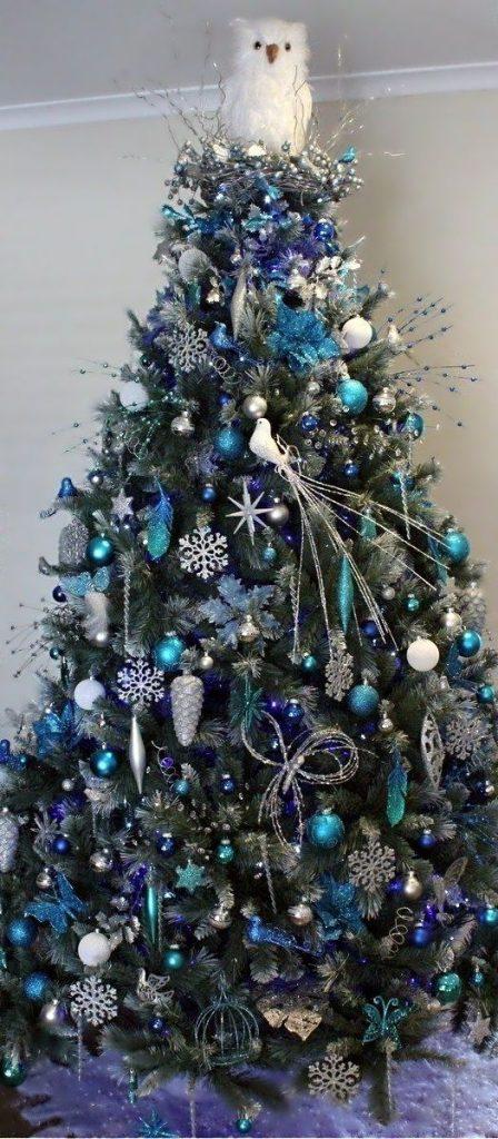 an owl tree topper blue christmas tree decoration ideas - Christmas Tree Decorated With Owls