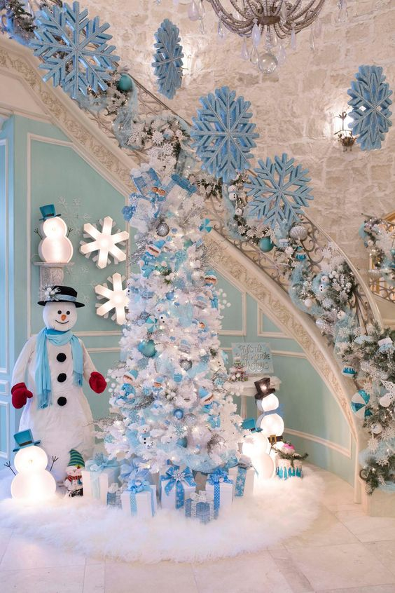 blue christmas tree decoration ideas - Turquoise Christmas Tree Decorations