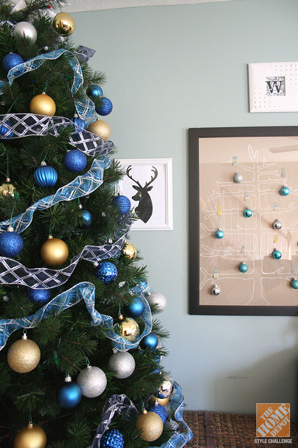 blue and gold - Green Christmas Tree Decorations
