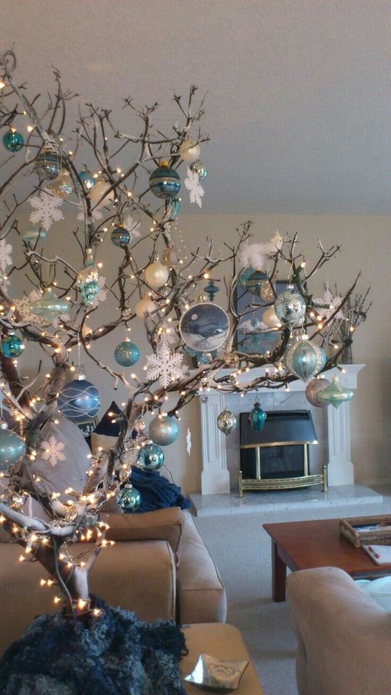 Christmas Branch Decoration Ideas.Mesmerizing Blue Christmas Tree Decorations Christmas