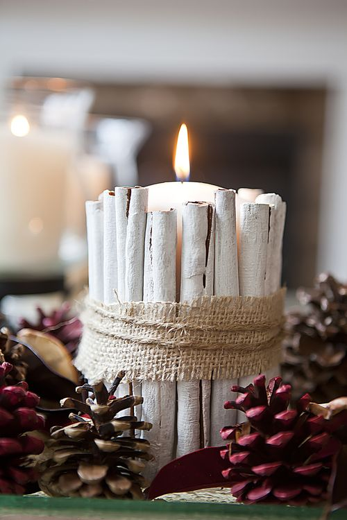 this is one of the cheapest christmas centerpiece ideas you require easy to source materials like twine burlap cinnamon sticks white paint and a pillar