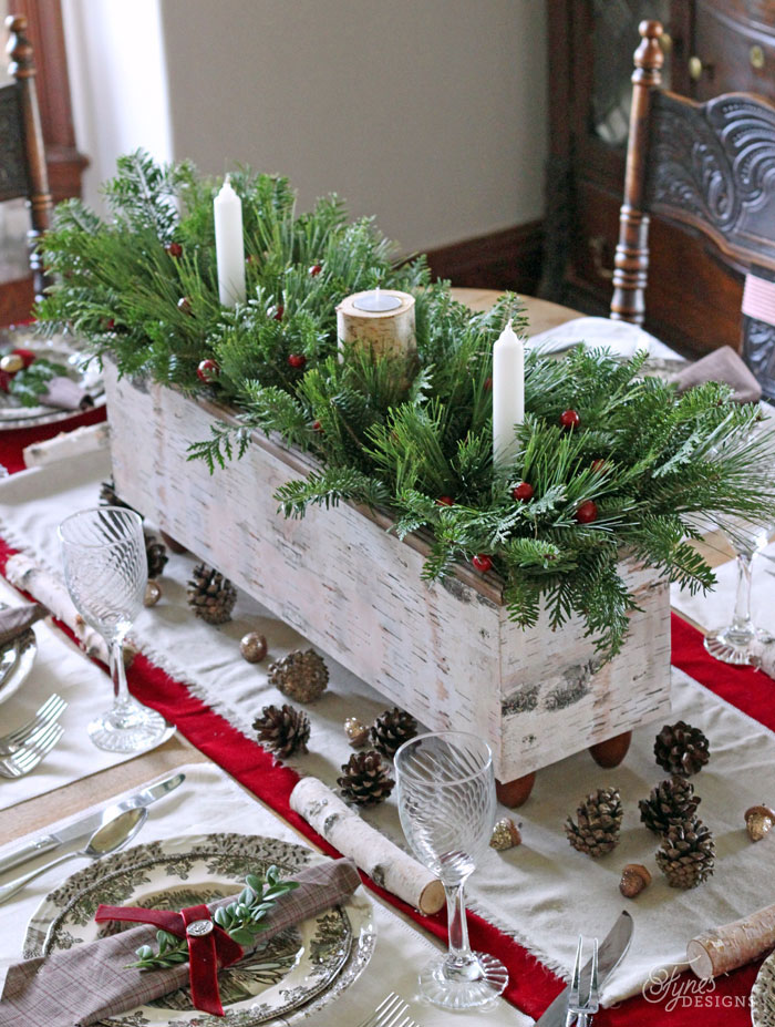a wooden box christmas table centerpiece decoration - Wooden Box Christmas Decorations