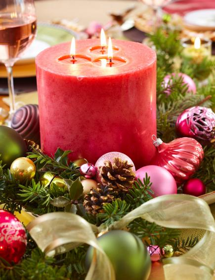 Prettiest christmas table centerpiece decoration ideas christmas an arrangement of pillar candles ornaments ribbons and pinecones will also make a stunning centerpiece for your christmas table solutioingenieria Gallery