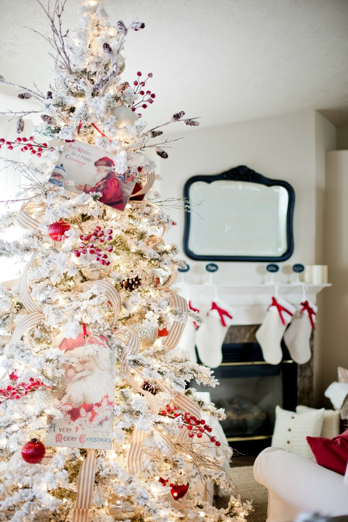 Christmas tree decoration ideas with ribbons christmas celebration first and foremost this neutral colored ribbon is going really well with this decoration of red and white junglespirit Choice Image