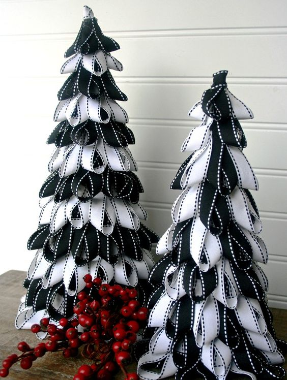 heres another example of a tabletop christmas tree made using ribbon it may seem a bit difficult at first but once you get a hang of it you can easily