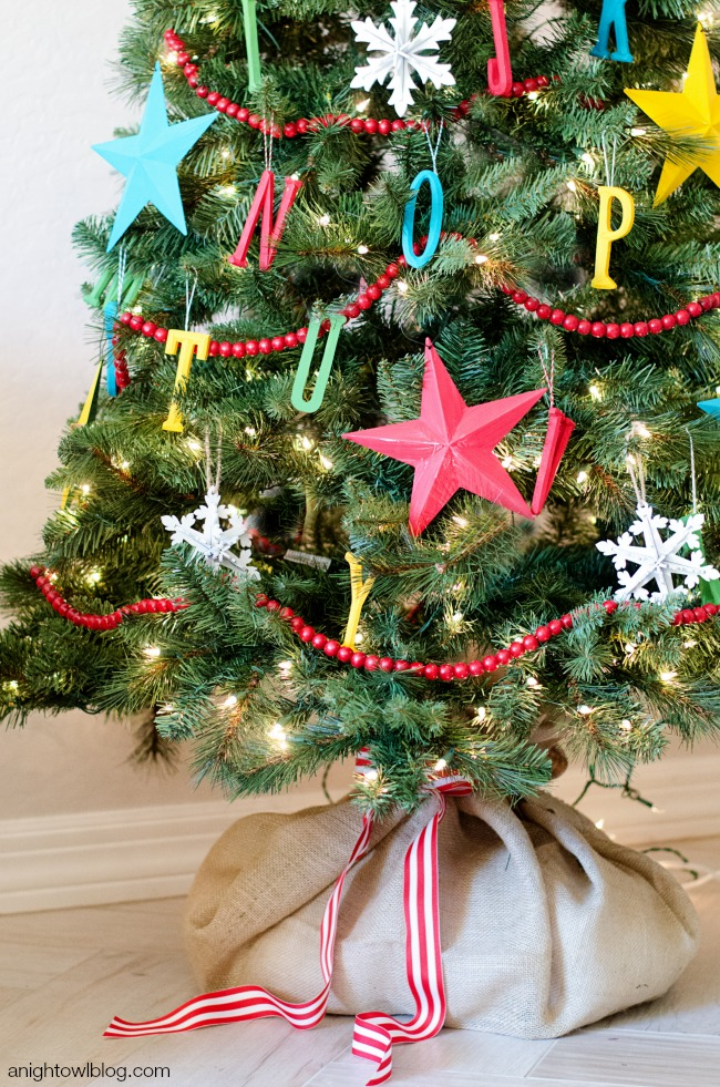 This Christmas Tree Is Just Perfect For A Kid S Room The Hanging Ornaments Will Make Kids Excited So Colorful Stars And Bead Garland