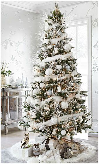 if you want to give a winter wonderland look to your christmas tree wrap it around with thin feather bow garland it will go really well with a flocked