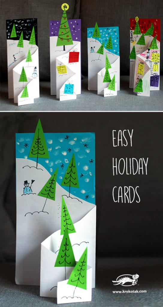 Diy christmas card ideas handmade christmas cards christmas how about making the kids create these lovely foldable christmas cards they can create any winter scenery or christmas symbols unfolding in the card solutioingenieria