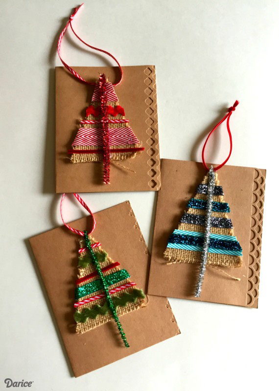 Diy christmas card ideas handmade christmas cards christmas this is a fairly easy diy christmas card idea which we think even kids can create you just need some burlap and ribbons to create these glamorous cards solutioingenieria Images
