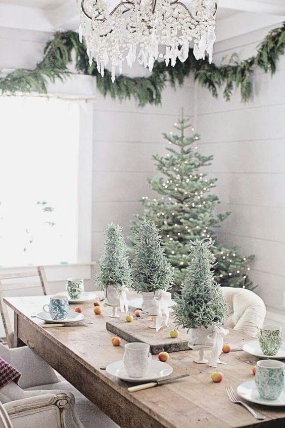 This all natural Christmas table decoration is elegant in every sense of word. A rustic wooden table is decorated with nothing but three potted Christmas ... : elegant table setting ideas - pezcame.com