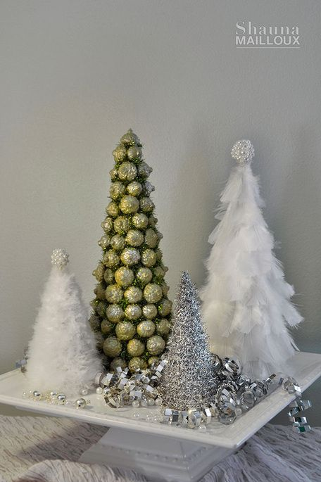combine feather trees with other tabletop trees - Feather Christmas Tree Decorations