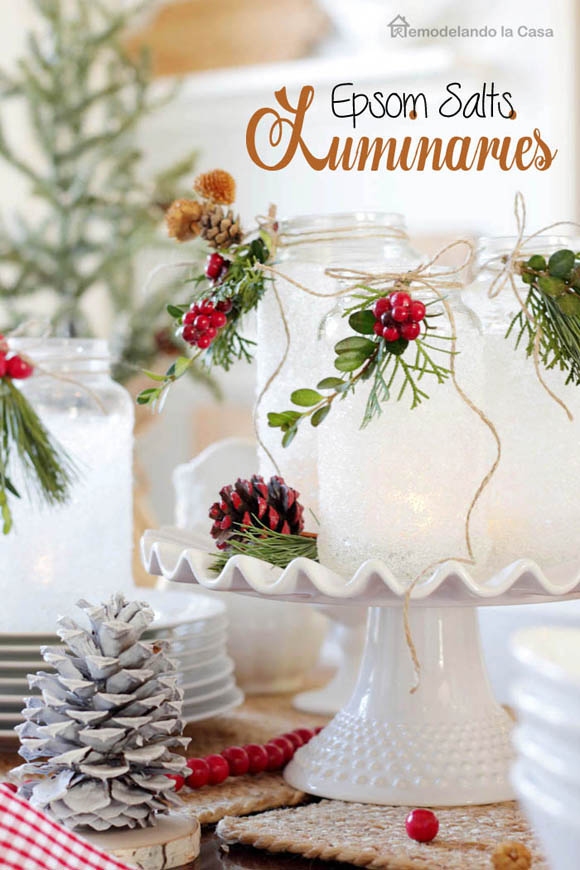 Top homemade christmas table decorations christmas celebration epsom salt luminaries solutioingenieria Images