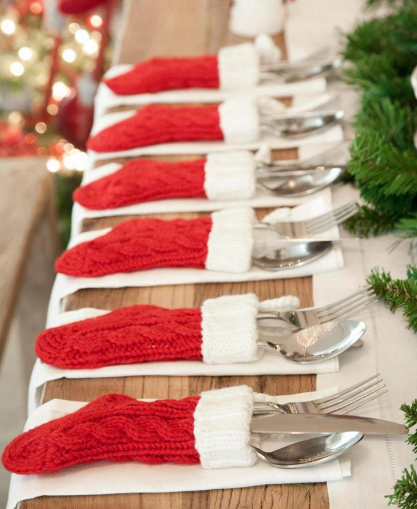 spruce your christmas table decoration and the silverwares with these adorable woolen stockings its quite an easy project and can be done in one day if