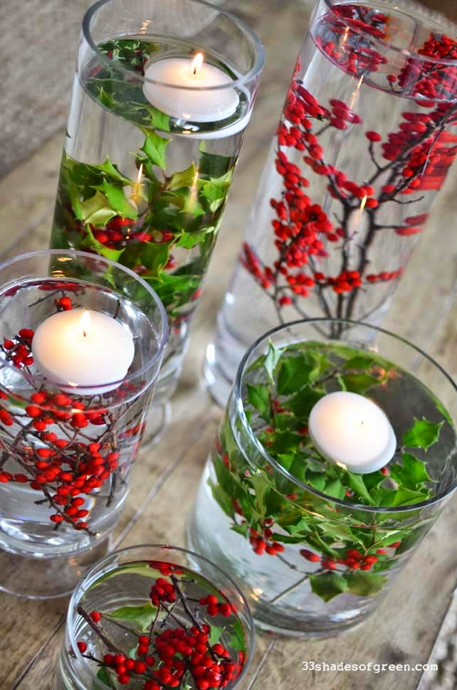 festive floating flora - Homemade Christmas Table Decorations