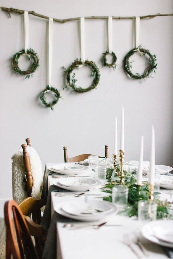 Here S Another Minimalist Christmas Table Setting You Can Refer A Branch Is Hung From One Corner To And Wreaths Are It Using Ribbons