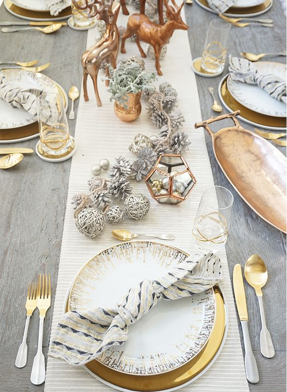 Copper Gold And White & Modern Christmas Table Setting Ideas - Christmas Celebration - All ...