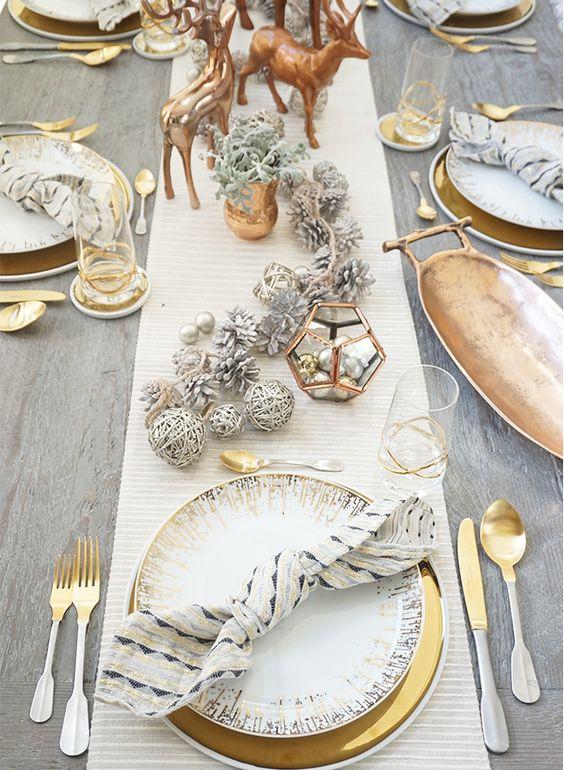 Copper Gold And White & Modern Christmas Table Setting Ideas \u2013 Christmas Celebration