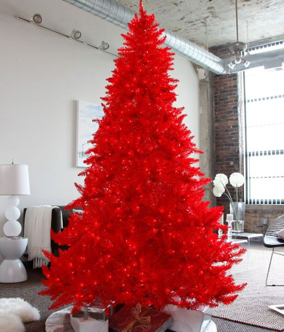 a true blue red christmas tree