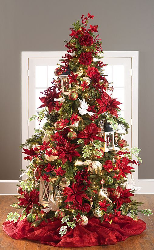 Red christmas tree decorations ideas christmas celebration Large decorated christmas trees
