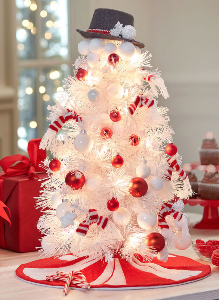 this is such a fun loving and beautiful christmas tree presented as a snowman a white christmas tree is decorated with red and white ornaments - Snowman Christmas Tree Decorations