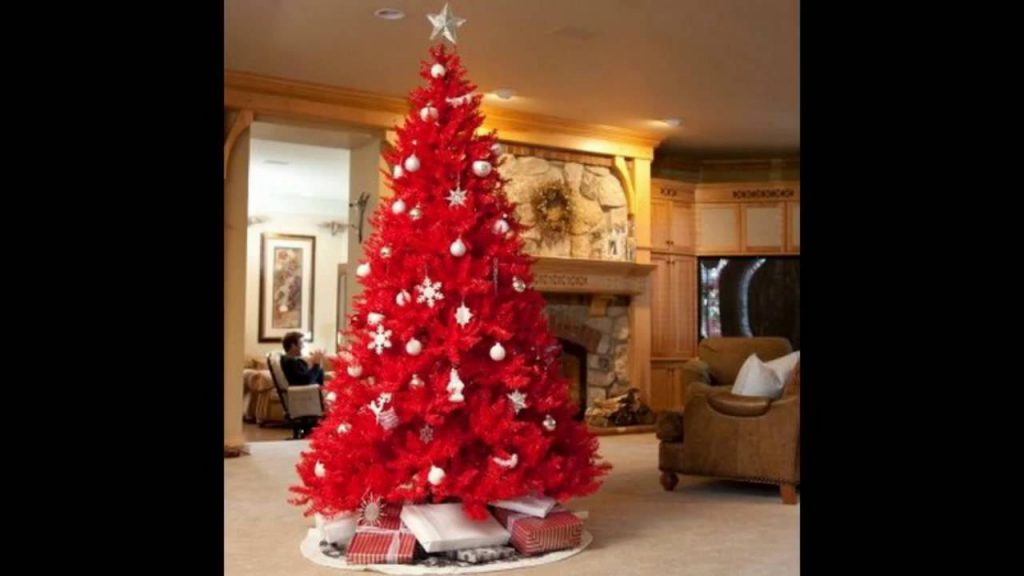 Red Christmas Tree Decorated With White Ornaments: